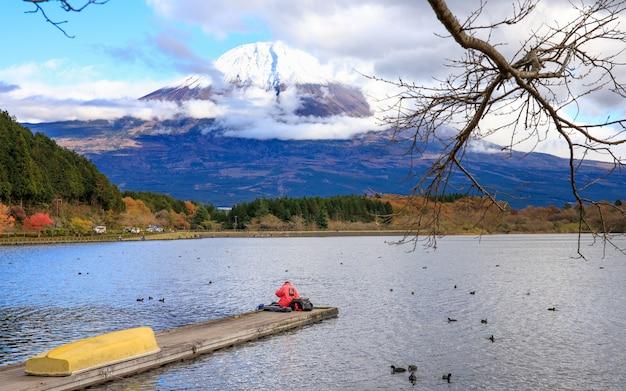 Landscape view fuji mountain at autumn season and fishing man