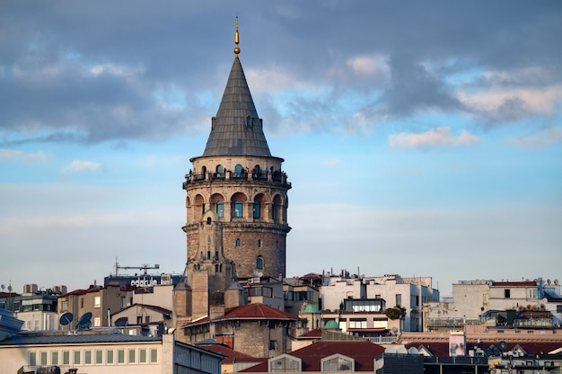 Landscape view on the galata tower under the blue autumn sky
