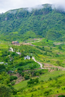 Landscape view house on hill from wat phra that pha son kaew at khao kho, phetchabun