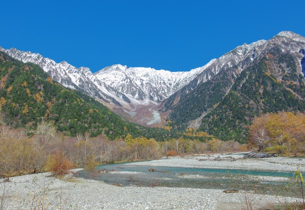 Landscape view of japan alps mountain with natural forest, blue river on autumn season.