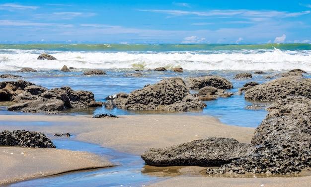 밝고 화창한 날 큰 바위가 있는 바다 해변의 풍경
