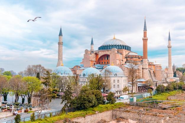 Пейзаж с видом на собор святой софии в стамбуле, турция