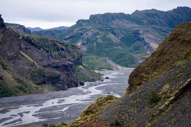 ソゥルスメルク山脈の峡谷と川の風景。