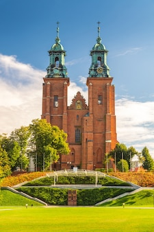 Landscape view of royal gniezno cathedral cathedral basilica of the assumption of the blessed virgin mary and st adalbert poland