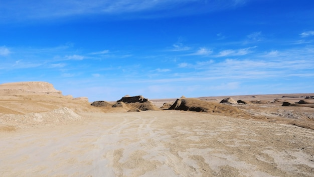 Landscape view of sunny blue sky and desert ground in qinghai china