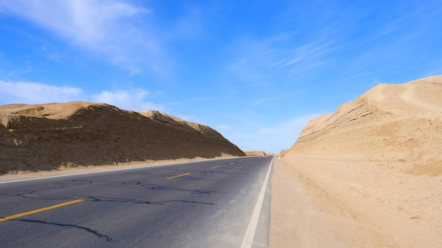 Landscape view of sunny blue sky and high way road in qinghai china