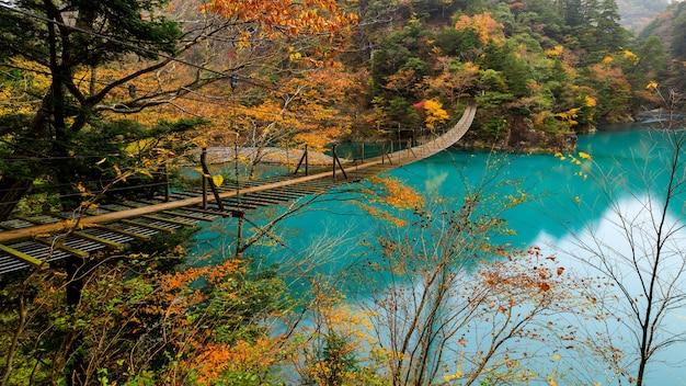 日本の渓谷の真ん中にある紅葉シーズンのランドスケープビューサスペンション木製橋とエメラルドウォーター