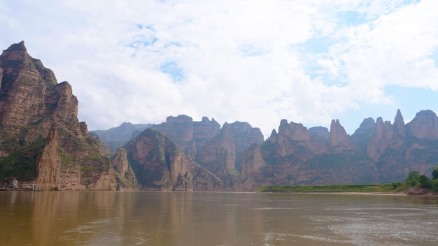 Landscape view of the yellow river in liujia xia lanzhou gansu