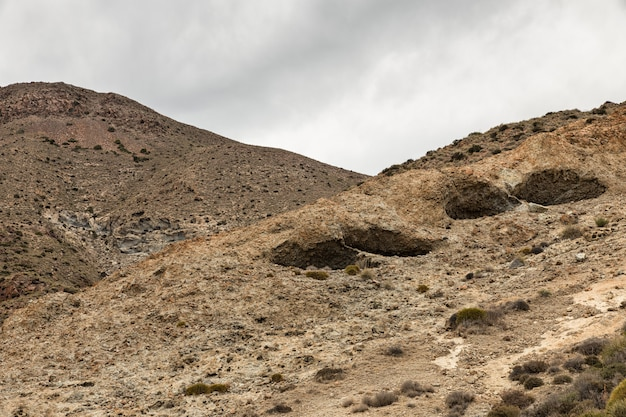 Landscape of volcanic origin located near the escullos, natural park of cabo de gata, spain.