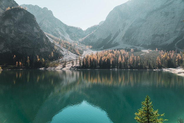 Landscape of water reflections at the lake braies in the dolomites, in south tyrol, italy