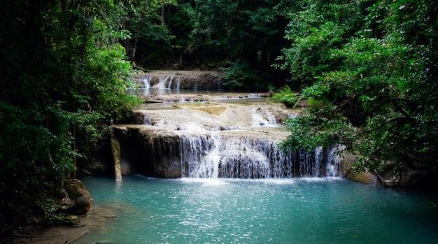 Пейзажный водопад в лесу