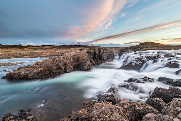 Landscape of waterfalls and rivers in icelandic lands