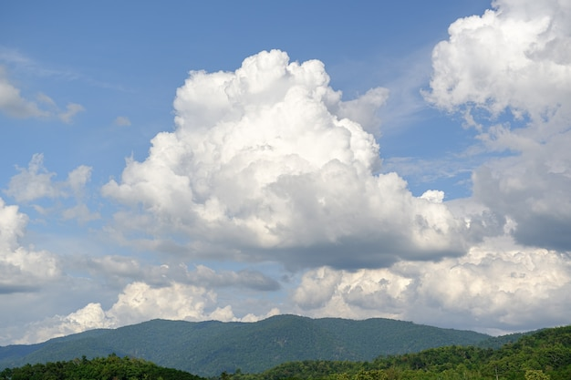 Landscape of white clouds and mountains