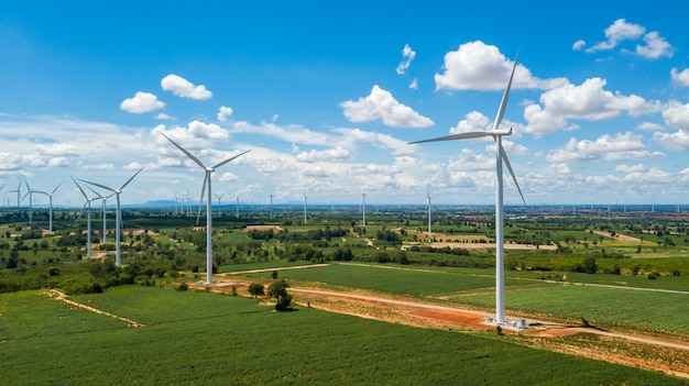 Landscape of windmills and blue sky