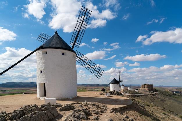 Landscape of windmills of don quixote. Premium Photo