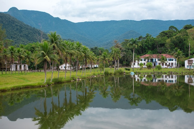 Пейзаж с заброшенным особняком и пальмами в бразилии
