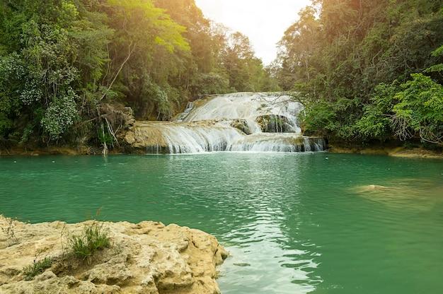 Пейзаж с удивительным водопадом агуа асуль, чьяпас, паленке, мексика. фото высокого качества