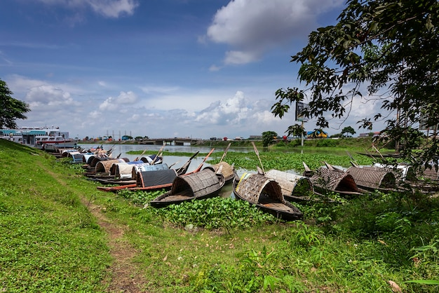 Landscape with boat in bangladesh