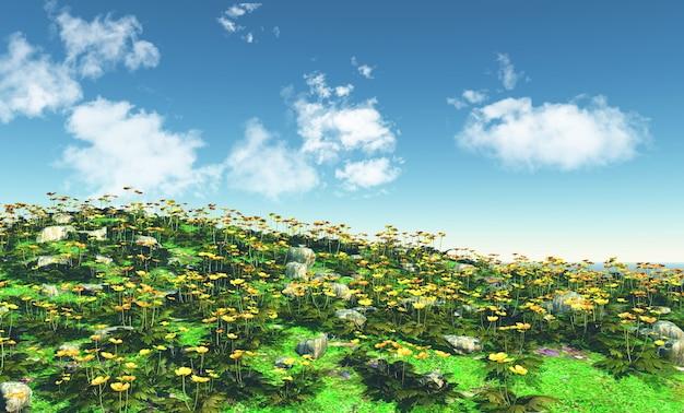 3d пейзаж с полем лютики