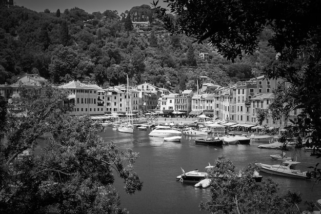 Landscape with the harbour and portofino town in liguria, italy. black and white photography.