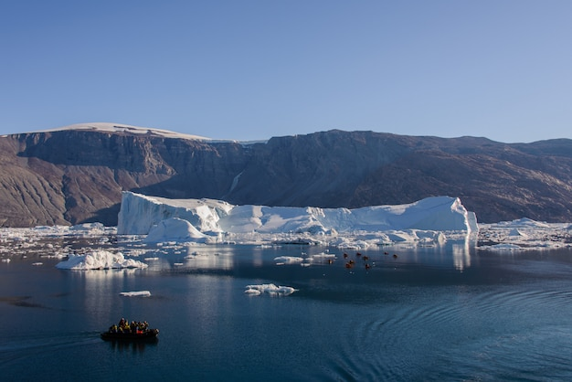 Landscape with iceberg in greenland at summer time.
