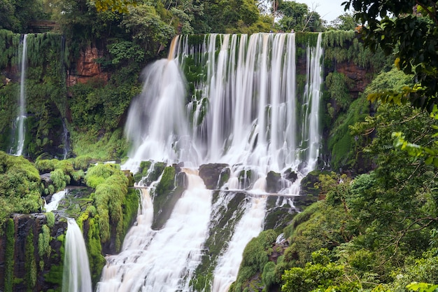 Landscape with the iguazu waterfalls in argentina, one of the largest waterfalls in the world.