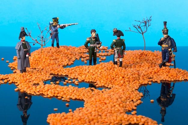 海に浮かぶ島々とナポレオン戦争の兵士たちのいる風景