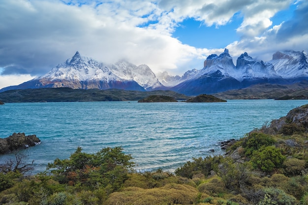 Landscape with lake lago del pehoe in the torres del paine national park, patagonia, chile