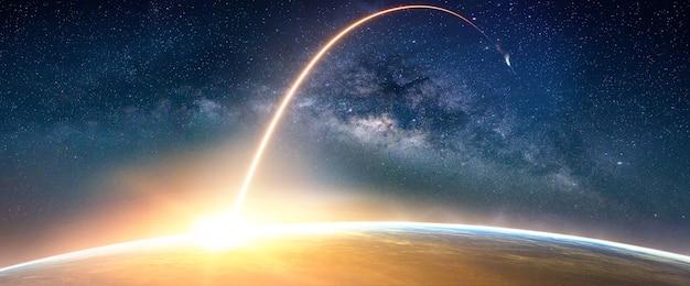 天の川銀河の風景(nasaによって提供されたこの画像の要素)