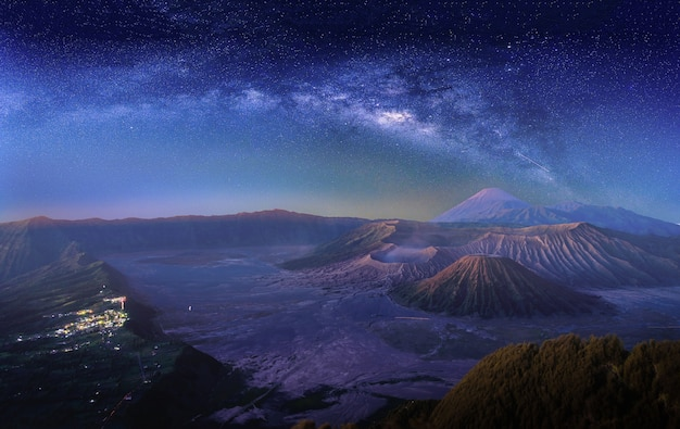 Landscape with milky way galaxy over mount bromo volcano in east java