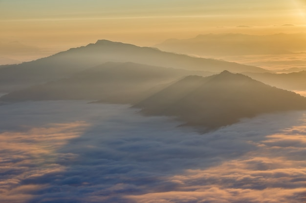 Landscape with the mist at pha tung mountain in sunrise time