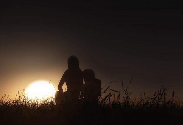 Il rendering 3d di un paesaggio con madre e figlio seduti contro un cielo al tramonto
