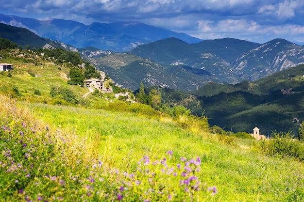 Paesaggio con prato di montagna