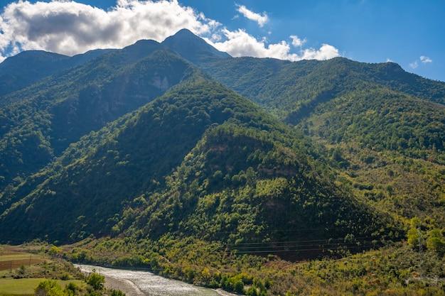 Пейзаж с горами, лесом и рекой впереди. прекрасный пейзаж.