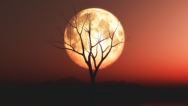 Landscape with old tree silhouette against a red moonlit sky