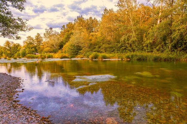 Landscape with a quiet shallow river