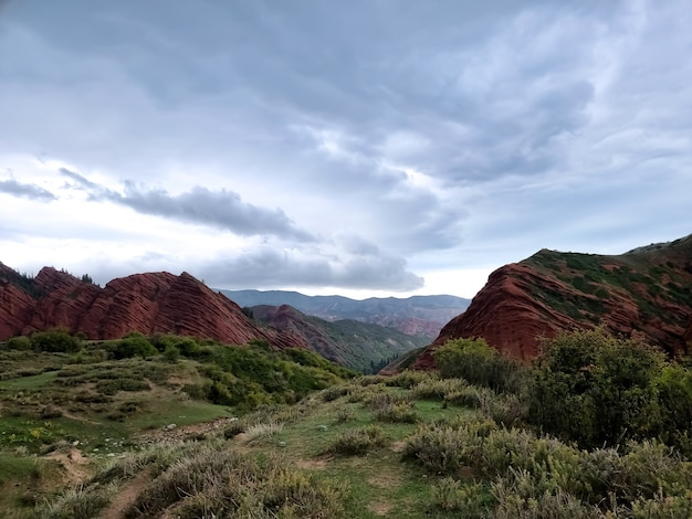 嵐の空を背景に緑の森に覆われた赤い岩のある風景。