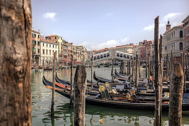 Landscape with rialto bridge and gondolas in venice
