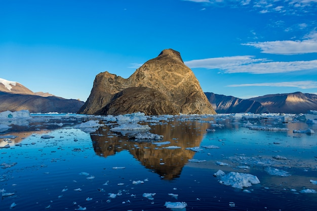 Landscape with rocks in greenland atmmer time.