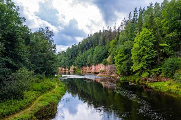Gauja 강둑에 사암 절벽이있는 풍경, 빠르게 흐르는 맑은 강물, kuku 절벽, gauja 국립 공원, 라트비아