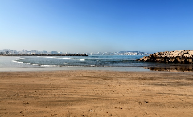 Landscape with sandy beach of tangier, morocco, africa