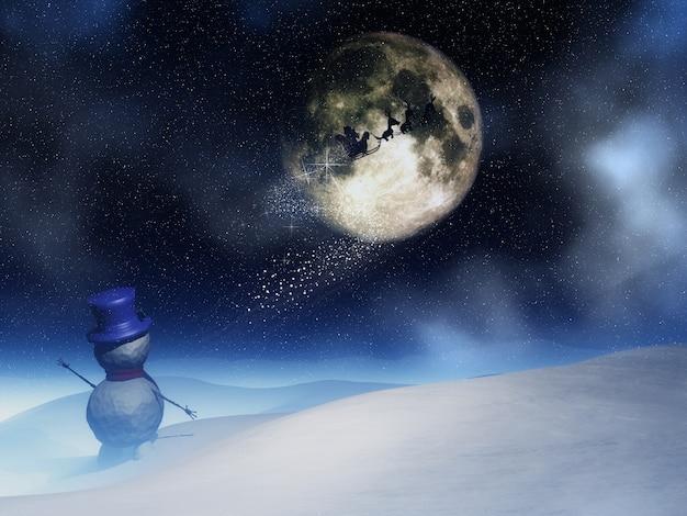Пейзаж с санта размахивая санта-клауса в ночном небе