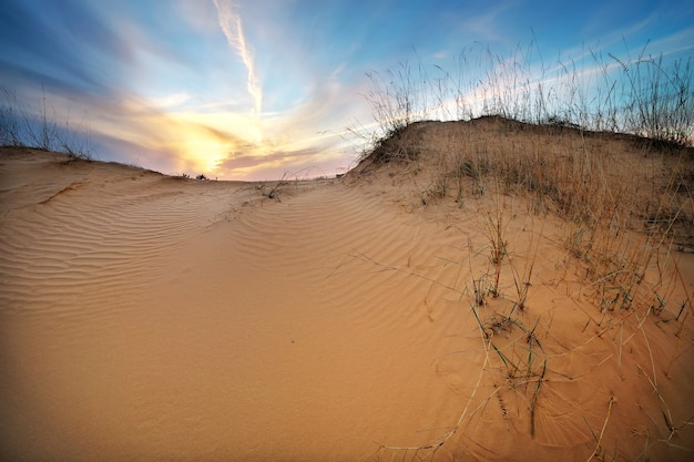 Landscape with sunset sky and sand. sunset on the dunes. beautiful landscape in desert.