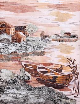 岸に2隻のボートがある風景、バーチ樹皮からの適用