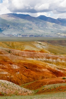 Landscapes of altai mountains. valley of mars. mountains in siberia, russia