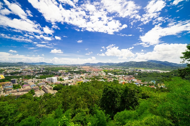 Landscapes city on the day mountain background.