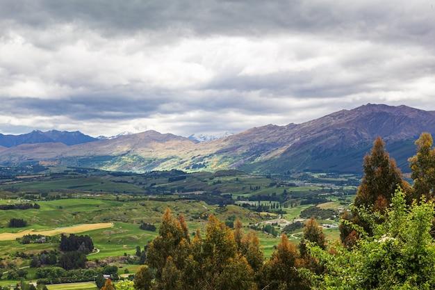 남섬 파노라마 지역의 풍경 퀸스 타운 뉴질랜드