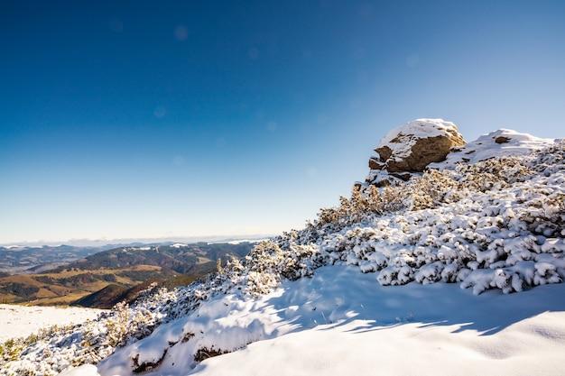 Dzembronya 마을 근처 우크라이나의 큰 돌 난간으로 덮인 카르파티아 산맥의 풍경