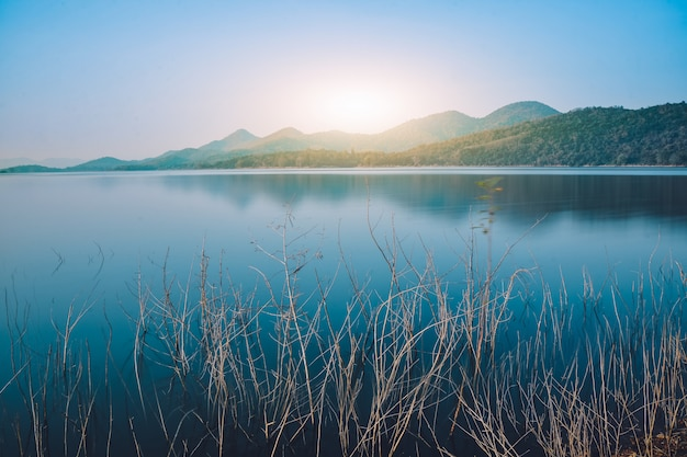 Landscapes river lake view mountain in morning