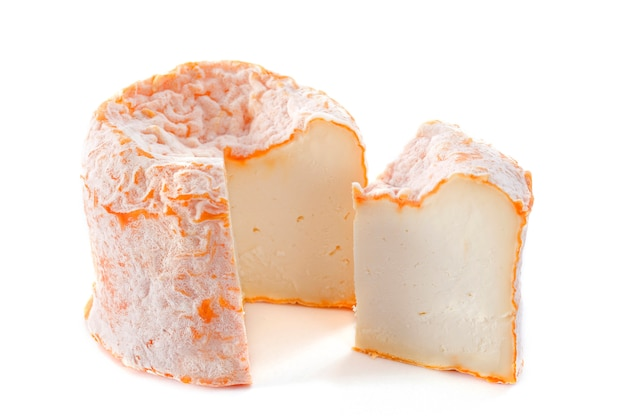Langre fermier cheese on white